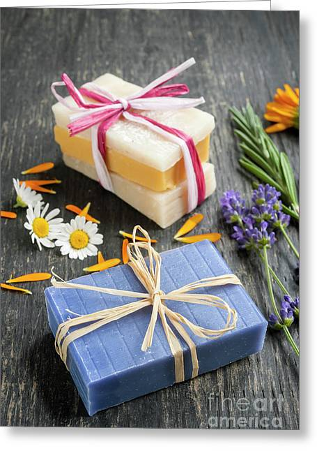 Handmade Soaps With Herbs Greeting Card by Elena Elisseeva