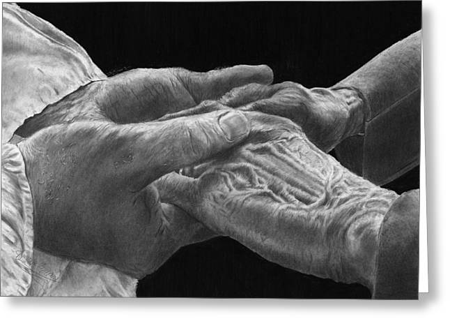 Support Drawings Greeting Cards - Hands of Love Greeting Card by Jyvonne Inman