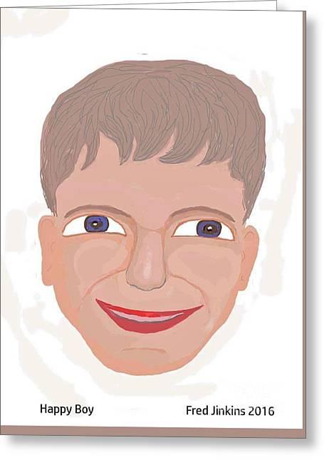 Happy Boy Greeting Card by Fred Jinkins
