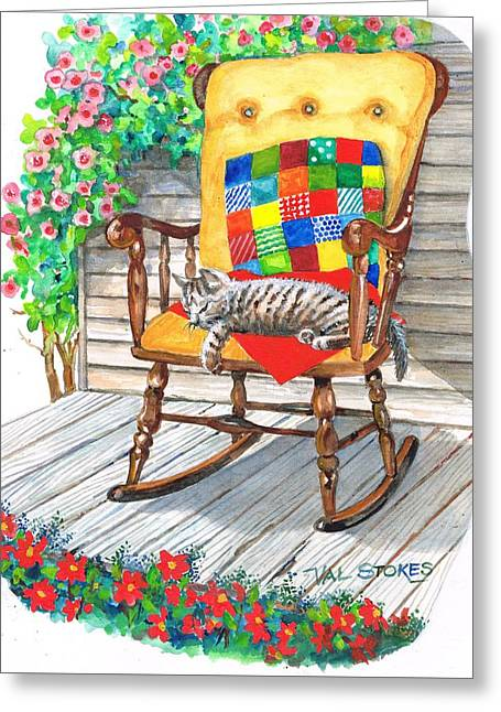 Happy Cat Greeting Card by Val Stokes