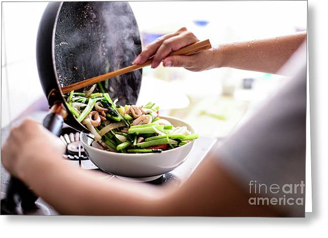 Happy Housewife Cooking Squid With Seafood In Home Kitchen Greeting Card by Mau thanh Quang