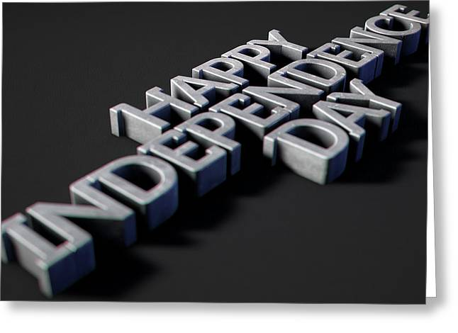 Happy Independence Day Text On Black Greeting Card