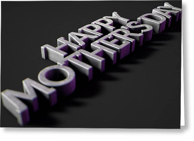 Happy Mothers Day Text On Black Greeting Card by Allan Swart