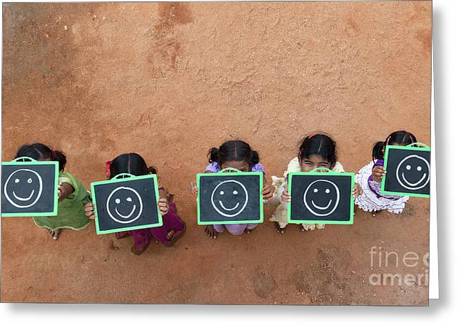 Happy Smiley Faces Greeting Card by Tim Gainey