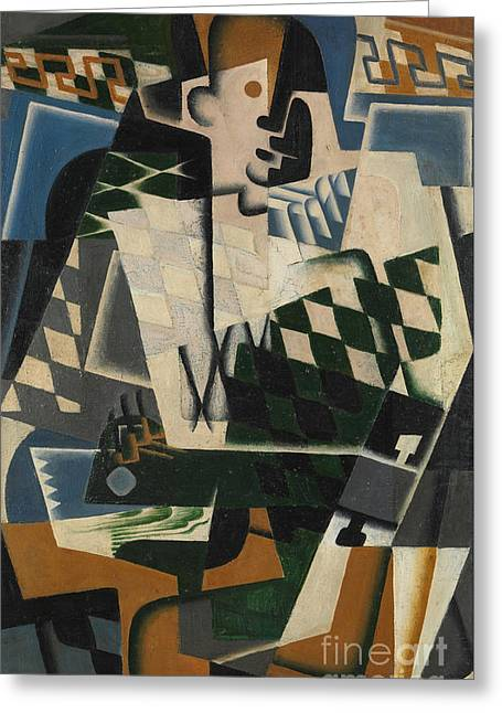 Harlequin With A Guitar, 1917 Greeting Card by Juan Gris