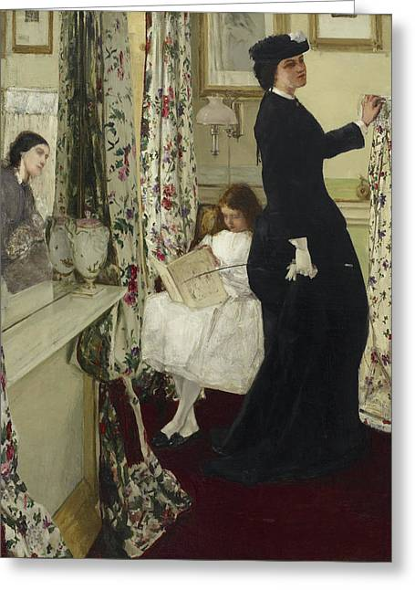 Harmony In Green And Rose - The Music Room Greeting Card by James Abbott McNeill Whistler