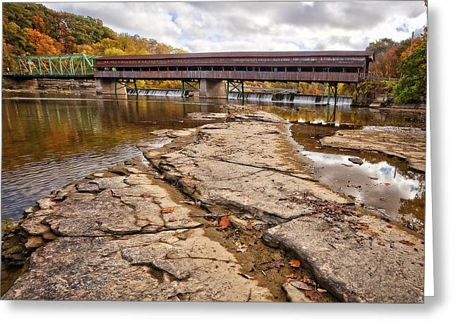 Harpersfield Covered Bridge Greeting Card by Marcia Colelli