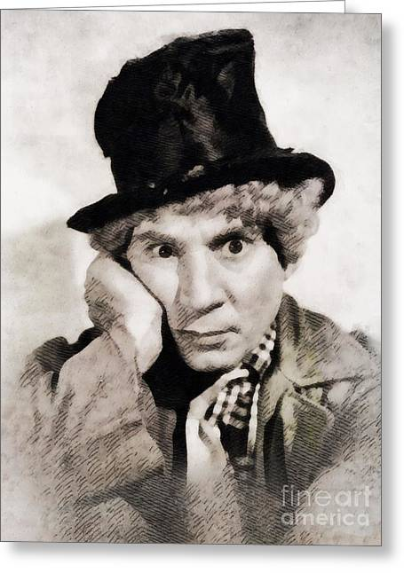 Harpo Marx, Vintage Hollywood Legend Greeting Card by John Springfield