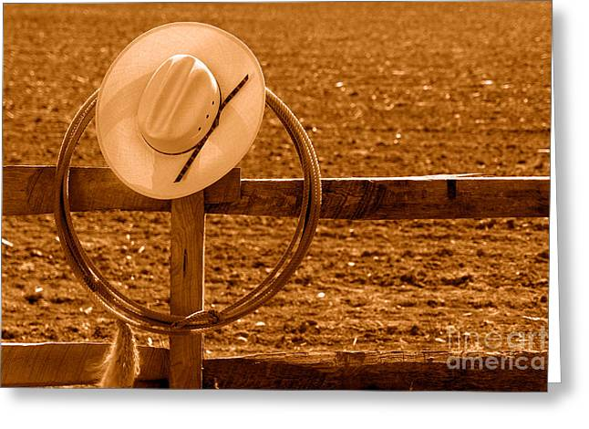 Hat And Lasso On A Fence - Sepia Greeting Card