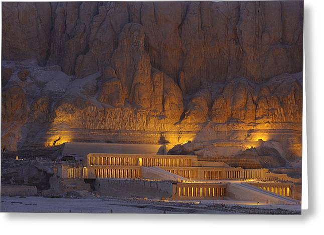 African Heritage Photographs Greeting Cards - Hatshepsuts Mortuary Temple Rises Greeting Card by Kenneth Garrett