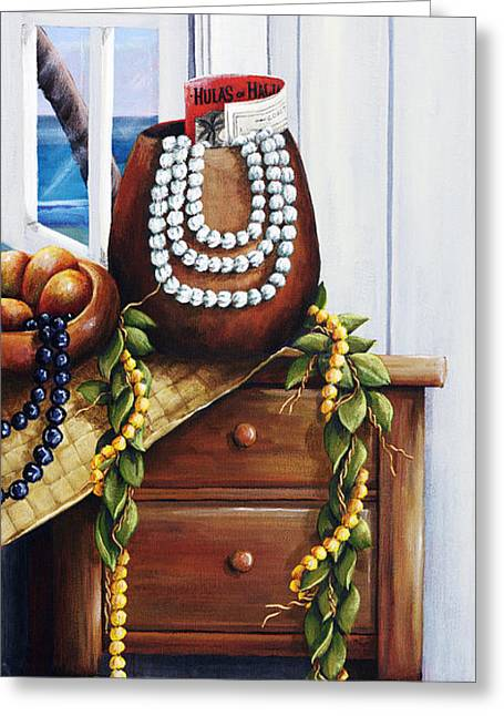 Hawaiian Still Life Panel Greeting Card by Sandra Blazel - Printscapes