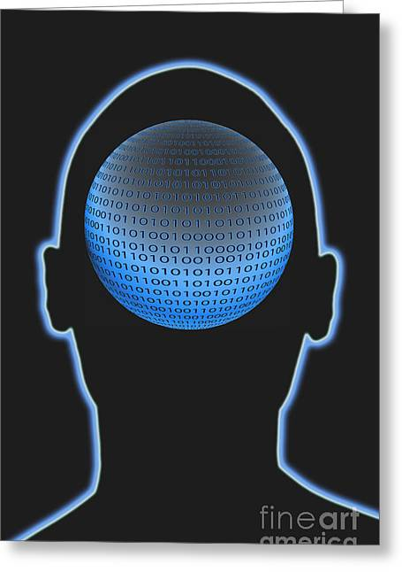 Head With Binary Numbers Greeting Card by George Mattei