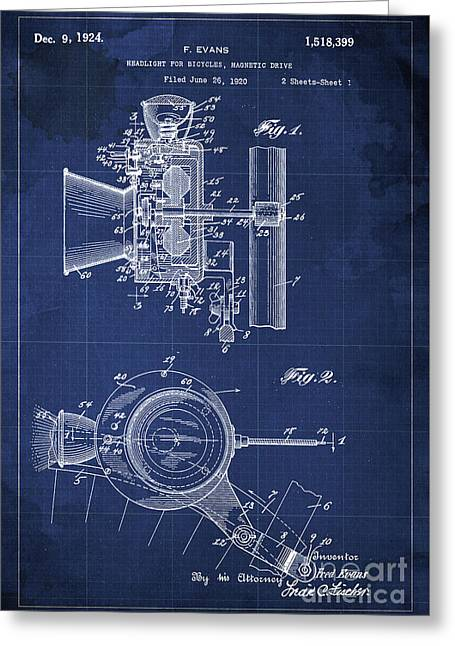 Headlight For Bicycles, Magnetic Drive Patent 1920 Greeting Card by Pablo Franchi