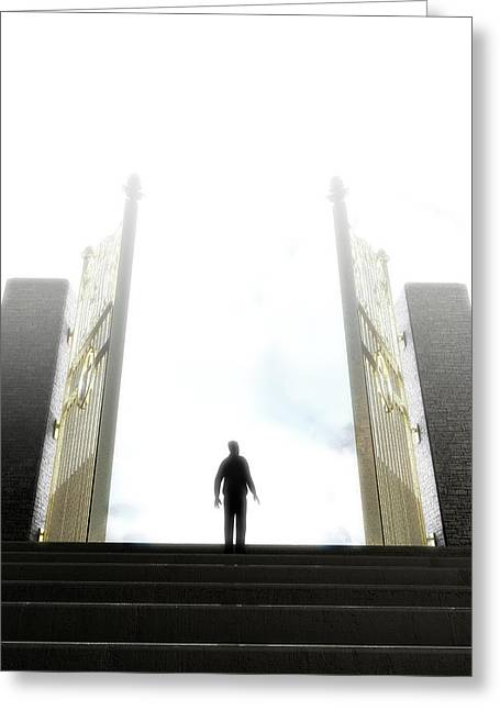 Heavens Gates And Silhouette Greeting Card