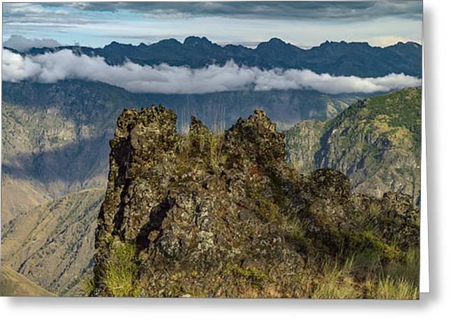 Hells Canyon Panoramic Greeting Card by Leland D Howard