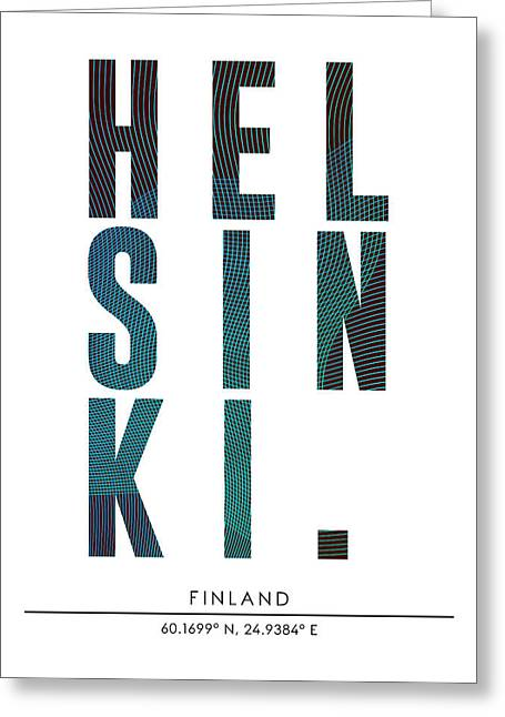Helsinki, Finland - City Name Typography - Minimalist City Posters Greeting Card