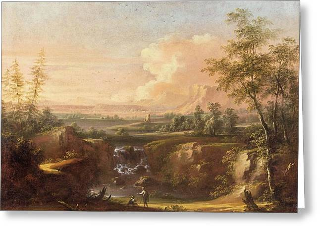 Heroic Landscape With People Staffage Greeting Card