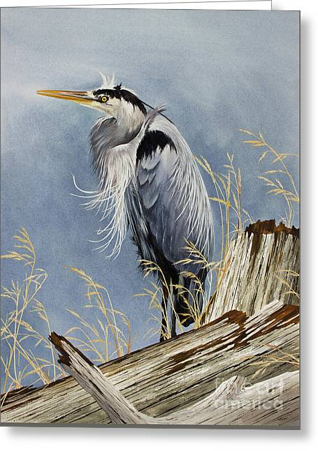 Greeting Card featuring the painting Herons Windswept Shore by James Williamson