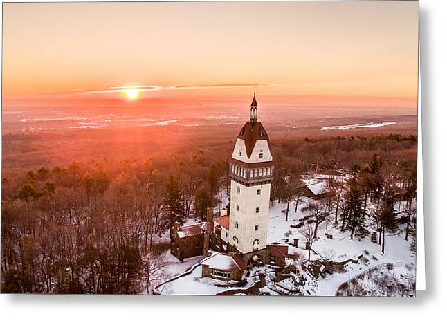Greeting Card featuring the photograph Heublein Tower In Simsbury, Connecticut by Petr Hejl