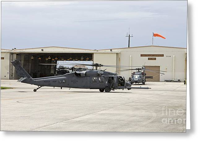 Hh-60g Pave Hawk Helicopters At Kadena Greeting Card by HIGH-G Productions