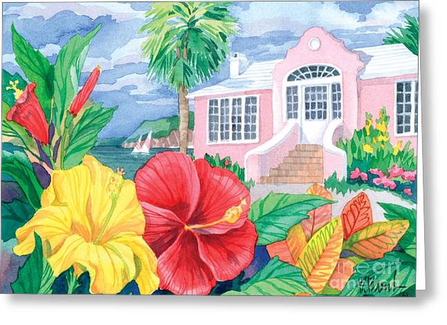 Hibiscus Cottage Greeting Card by Paul Brent