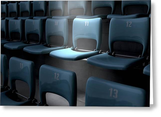 Highlighted Stadium Seat Greeting Card by Allan Swart