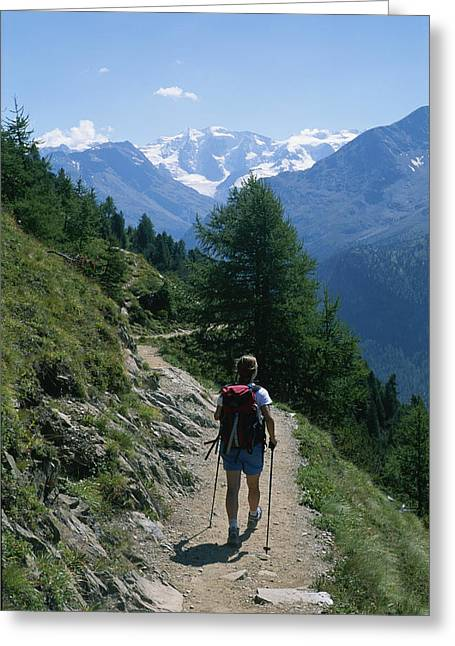 Hiker Greeting Cards - Hiking The Piz Muragl Mountain Greeting Card by Taylor S. Kennedy