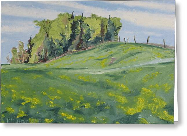 Hills Forest And Dadelions  Greeting Card by Francois Fournier