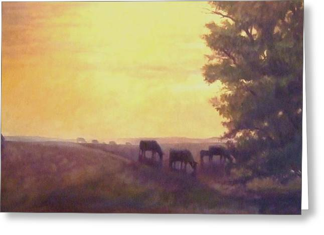 Hillside Silhouettes Greeting Card by Ruth Stromswold