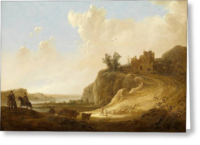 Hilly Landscape With The Ruins Of A Castle Greeting Card by Aelbert Cuyp