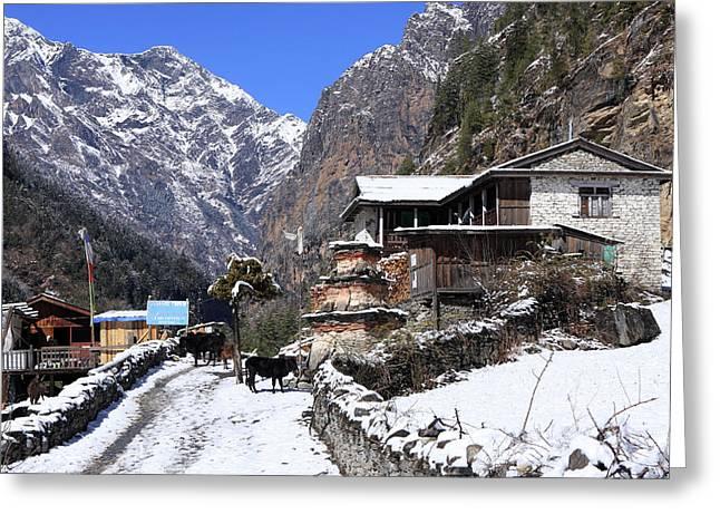 Himalayan Mountain Village Greeting Card by Aidan Moran