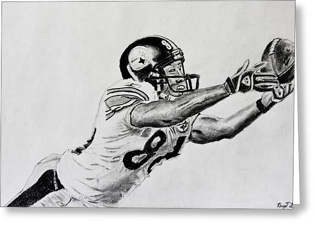 Steelers Drawings Greeting Cards - Hines Ward Diving Catch  Greeting Card by Bryant Luchs
