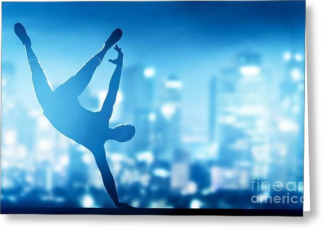 Hip Hop Break Dance Performed By Young Man In City Lights Greeting Card by Michal Bednarek