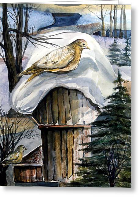 Sparrow Mixed Media Greeting Cards - His Eye is on the Sparrow Greeting Card by Mindy Newman