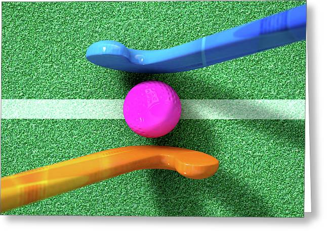 Hockey Stick And Ball Greeting Card by Allan Swart