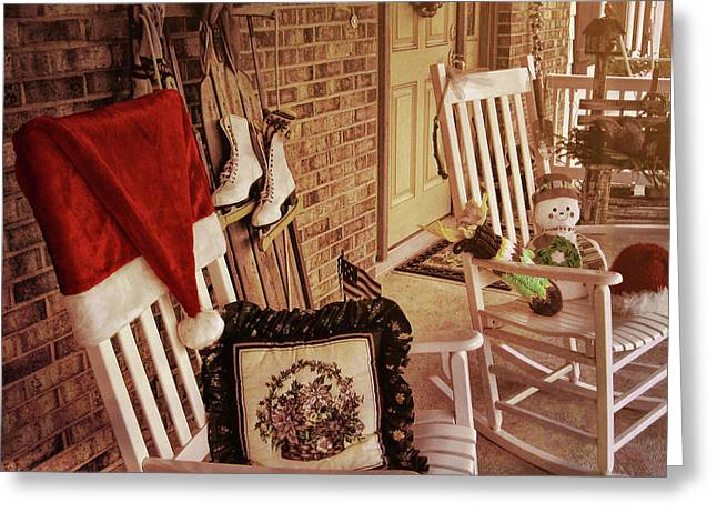 Holiday Porch Decorated Greeting Card by JAMART Photography
