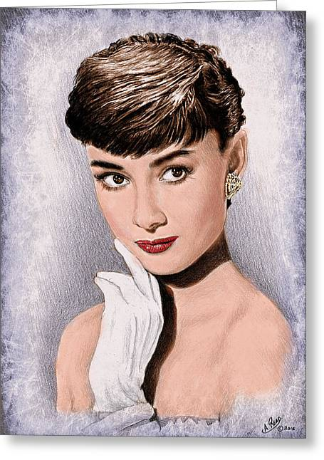 Hollywood Greats Hepburn Greeting Card by Andrew Read