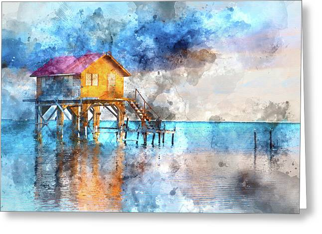 Home On The Ocean In Ambergris Caye Belize Greeting Card by Brandon Bourdages