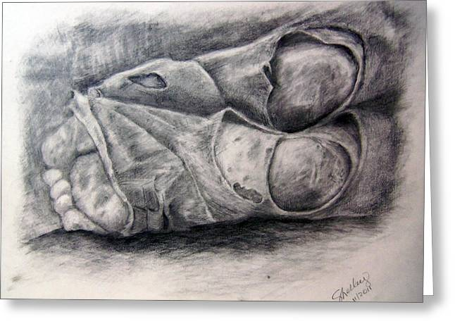 Homeless Feet Greeting Card by Shelley Bain