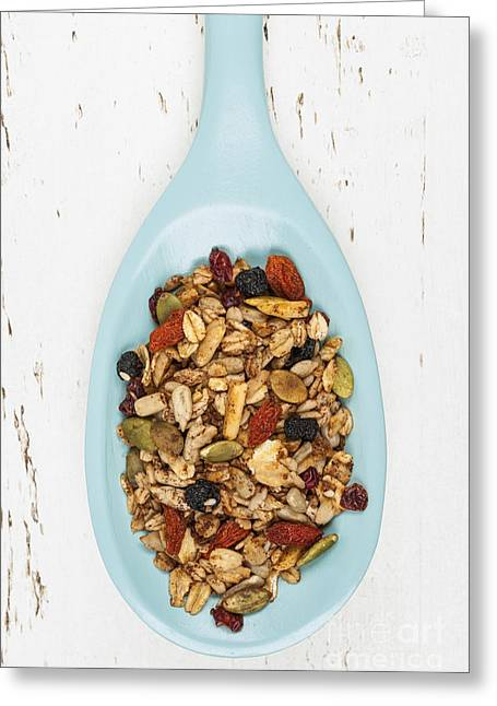 Homemade Granola In Spoon Greeting Card by Elena Elisseeva