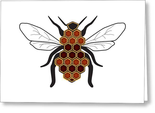 Honeycomb Bee Sans Border Greeting Card