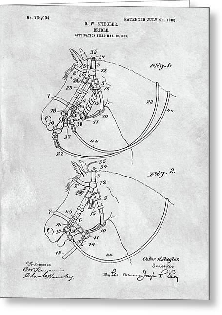 Horse Bridle Patent Greeting Card by Dan Sproul