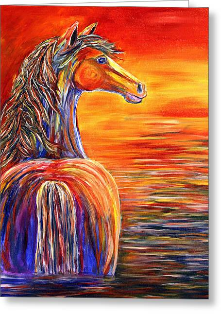 Greeting Card featuring the painting Horse In Still Waters by Jennifer Godshalk