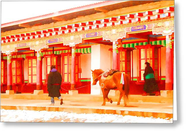 Horse Greeting Card by Lanjee Chee