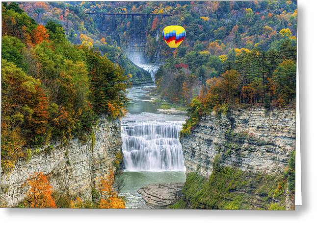 Hot Air Balloon Over The Middle Falls At Letchworth State Park Greeting Card