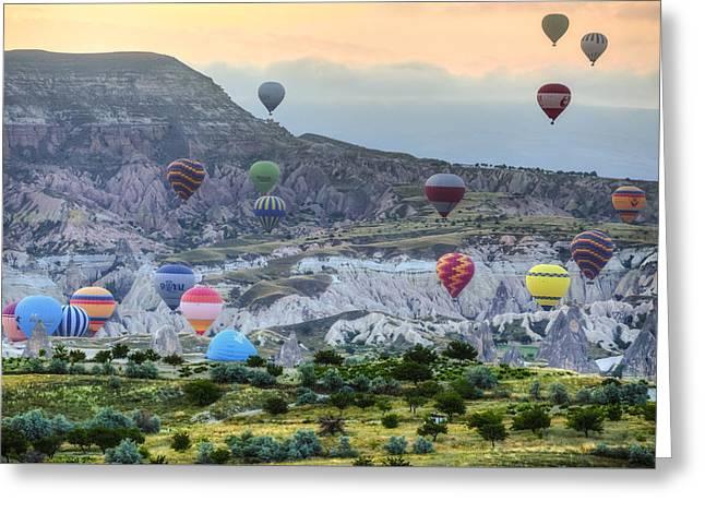 Hot Air Balloons Cappadocia Greeting Card by Joana Kruse