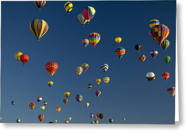 Getting Air Greeting Cards - Hot Air Balloons Fly In A Hot Air Greeting Card by Ralph Lee Hopkins