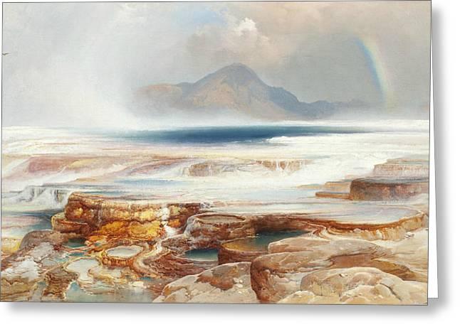 Hot Springs Of The Yellowstone Greeting Card by Thomas Moran