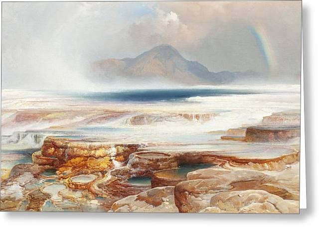 Hot Springs Of The Yellowstone Greeting Card by Thomas Moran