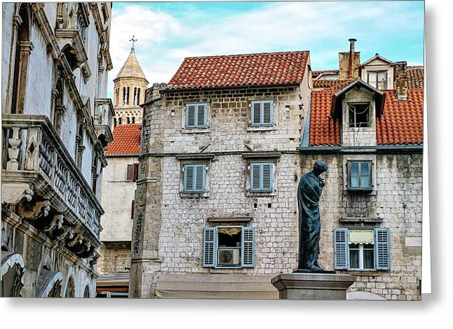 Houses And Cathedral Of Saint Domnius, Dujam, Duje, Bell Tower Old Town, Split, Croatia Greeting Card